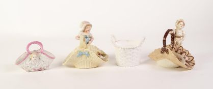 TWO VICTORIAN MOULDED CHINA BASKETS MODELLED WITH FEMALE FIGURES, one with young girl, yellow glazed