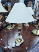 PAIR OF GOOD QUALITY BRASS TABLE LAMPS AND SHADES (47cm high)