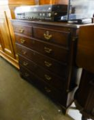 A VICTORIAN OAK CHEST OF TWO SHORT OVER FOUR LONG DRAWERS