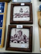 TWO EIGHTEENTH CENTURY DUTCH DELFT MANGANESE DECORATED SQUARE TILES, ONE A FIGURE IN A LANDSCAPE,