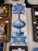 SUITE OF THREE ANTIQUE TILES, PAINTED BLUE ON WHITE TO FORM A PICTURE OF A PEDESTAL AND VASE OF