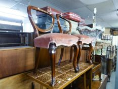 A PAIR OF VICTORIAN MAHOGANY BALLOON BACKED SINGLE CHAIRS WITH FRENCH CABRIOLE FRONT SUPPORTS