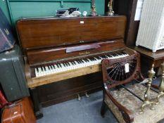 A 'CRANE' MAHOGANY UPRIGHT PIANO