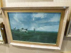 """BORDI COLOUR PRINT HORSES IN AN OPEN LANDSCAPE 19 1/4"""" X 29 1/2"""" (49cm x 75cm)"""