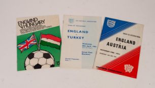 THREE ENGLAND UNDER 23s PROGRAMMES, v Turkey Ewood Park 1966, v Austria Boothferry Park Hull 1967,