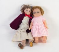 ARMAND MARSEILLE, GERMAN, BISQUE SHOULDER HEADED GIRL DOLL, dressed in nurse's uniform, with natural