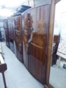 WRIGHTON LADIES FIGURED WALNUT TWO DOOR WARDROBE WITH BOW FRONT, 4;? WIDE AND THE GENT?S WARDROBE