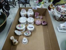 FOUR WEDGWOOD PINK AND WHITE JASPERWARE MINIATURE ITEMS AND TEN SMALL MINIATURE CHINA ORNAMETS BY