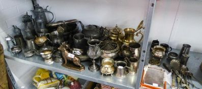 QUANTITY OF PEWTER TO INCLUDE; TEAPOTS, BOWLS, TANKARDS, ETC.... AND ALSO A QUANTITY OF ELECTROPLATE