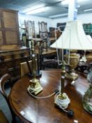 GRADUATED PAIR OF CLASSICAL STYLE GILT METAL MODERN TABLE LAMPS WITH REEDED COLUMNS AND STEPPED