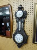 *EARLY TWENTIETH CENTURY WALL CLOCK, ANEROID BAROMETER AND THERMOMETER IN AN ORNATE CAST AND
