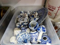 A SELECTION OF BLUE AND WHITE POTTERY, TO INCLUDE; GINGER JARS, FIGURES, RACK PLATES, CUPS ETC......