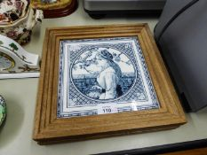 A PAIR OF NINETEENTH CENTURY MINTON'S BLUE AND WHITE PICTORIAL TILES, EACH PRINTED IN A CIRCULAR