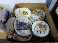 FOUR COALPORT CHINA WALL PLATES OF DOGS, FOUR DAVENPORT DECORATIVE WALL PLATES, TWO ROYAL DOULTON '