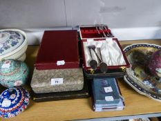 EIGHT BOXED SETS OF ELECTROPLATE CUTLERY, VIZ TEA KNIVES, SPOONS, FORKS, SERVING SET ETC...
