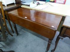 VICTORIAN MAHOGANY PEMBROKE TABLE, RAISED ON TURNED SUPPORTS