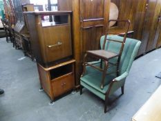 TWO MAHOGANY BEDSIDE CUPBOARDS WITH OPEN COMPARTMENT ABOVE; A MAHOGANY BEDROOM SINGLE CHAIR WITH