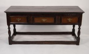 EIGHTEENTH CENTURY OAK DRESSER, the moulded oblong top above three moulded drawers, fitted with a