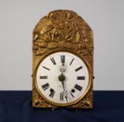 LATE NINETEENTH CENTURY FRENCH COMTOISE WALL CLOCK SIGNED DAVIGNON A SANCERRE, the 9? enamelled