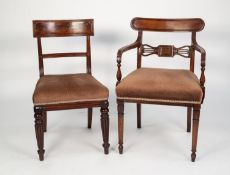 SET OF FIVE EARLY VICTORIAN MAHOGANY BAR BACK SINGLE DINING CHAIRS, each with flame cut top rail,