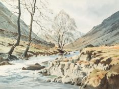 J. BEDDOWS (Modern) WATERCOLOUR DRAWING Lakeland river landscape Signed lower right 14 1/4in x