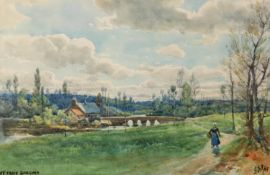 GEORGE STRATTON FERRIER (1852 - 1912)WATERCOLOUR DRAWING 'St Croix, Guincamp' Signed with initials