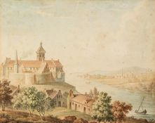 CONTINENTAL SCHOOL (Late 18th/early 19th Century) WATERCOLOUR DRAWING River landscape with a