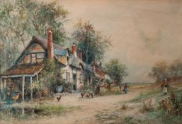 JOSEPH HUGHES CLAYTON (act. 1891-1929) WATERCOLOUR DRAWING Figures outside thatched cottages
