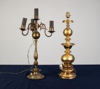DUTCH STYLE GILT METAL FOUR LIGHT TABLE LAMP with three S scroll branches, slender baluster column