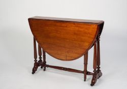 LATE VICTORIAN WALNUT SUTHERLAND TABLE, with demi lune drop leaves and end supports with twin