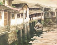 FAR EASTERN SCHOOL (Contemporary) OIL PAINTING ON CANVAS River or lakeside houses with figures in