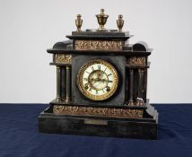VICTORIAN PRESENTATION BLACK SLATE LARGE MANTLE CLOCK, the 5? white Roman two part dial with visible