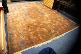 LARGE AND HEAVY QUALITY WASHED CHINESE CARPET with light brown field, having pattern of fine line