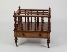 VICTORIAN LINE INLAID AND FIGURED WALNUT MUSIC CANTERBURY, of typical form with three divisions
