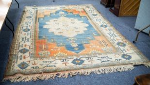 ANATOLIAN, TURKISH, SEMI-ANTIQUE NOMADIC CARPET, with fawn petal shaped centre medallion with