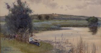 CARLETON GRANT (exh. 1885 - 99) WATERCOLOUR DRAWING Young girl at rest beside a river with low hills
