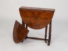 VICTORIAN BURR WALNUT AND LINE INLAID SMALL SUTHERLAND TABLE, of typical form with demi-lune drop