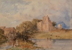 C. R. YATES (Late 19th Century) WATERCOLOUR DRAWING Landscape with castle ruins Signed lower right 9