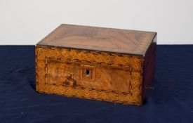 LATE VICTORIAN FIGURED WALNUT AND TUNBRIDGE BANDED SEWING BOX, of oblong form, the hinged cover with