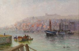 JAS ALLAN (Early 20th Century) OIL PAINTING ON BOARD Whitley Harbour Signed and dated 1921 lower