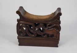 EARLY TWENTIETH CENTURY AFRICAN CARVED HARDWOOD NARROW STOOL CARVED WITH THE NAME ?ROBERT GRAY,