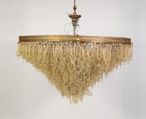 IMPRESSIVE, MODERN SEVENTEEN LIGHT ELECTROLIER, comprising of numerous shaped and gilt dusted