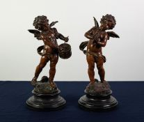 PAIR OF LATE 19th CENTURY FRENCH GOOD QUALITY BRONZED SPELTER FIGURES OF CHERUBS, one playing a