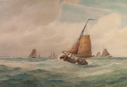 FREDERICK JAMES ALDRIDGE (1850-1933) WATERCOLOUR'Off the Dogger Bank' Signed and dated 1888 lower