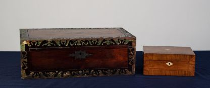 EARLY NINETEENTH CENTURY ROSEWOOD AND BRASS INLAID LARGE PORTABLE WRITING SLOPE, of typical form,