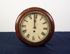 SMALL VICTORIAN MAHOGANY CASED CIRCULAR WALL CLOCK, with 8 days spring driven movement, pendulum and
