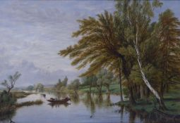 BRITISH SCHOOL (19th CENTURY) OIL PAINTING ON CANVAS LAID DOWN ON BOARD River landscape with figures