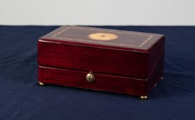 RAPPORT, LONDON, QUARTZ DESK CLOCK AND THERMOMETER in marquetry inlaid mahogany box case, with brass