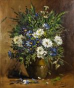 UNATTRIBUTED (MODERN) OIL ON CANVAS Still Life-vase of flowers Indistinctly signed 17 ½? x 14 ½? (