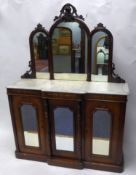 VICTORIAN FIGURED WALNUT AND WHITE VEINED MARBLE CHIFFONIER, the triple arch topped mirrored back